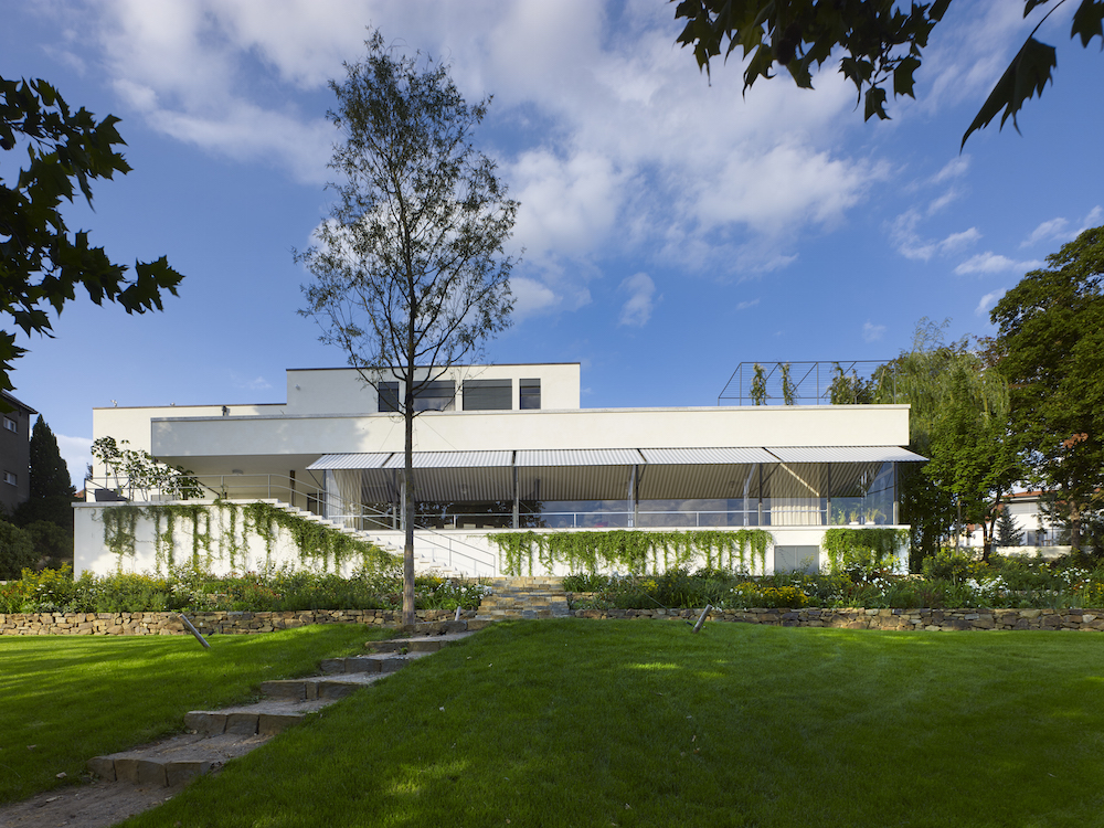 The rear exterior of Mies van der Rohe's Villa Tugendhat in Brno