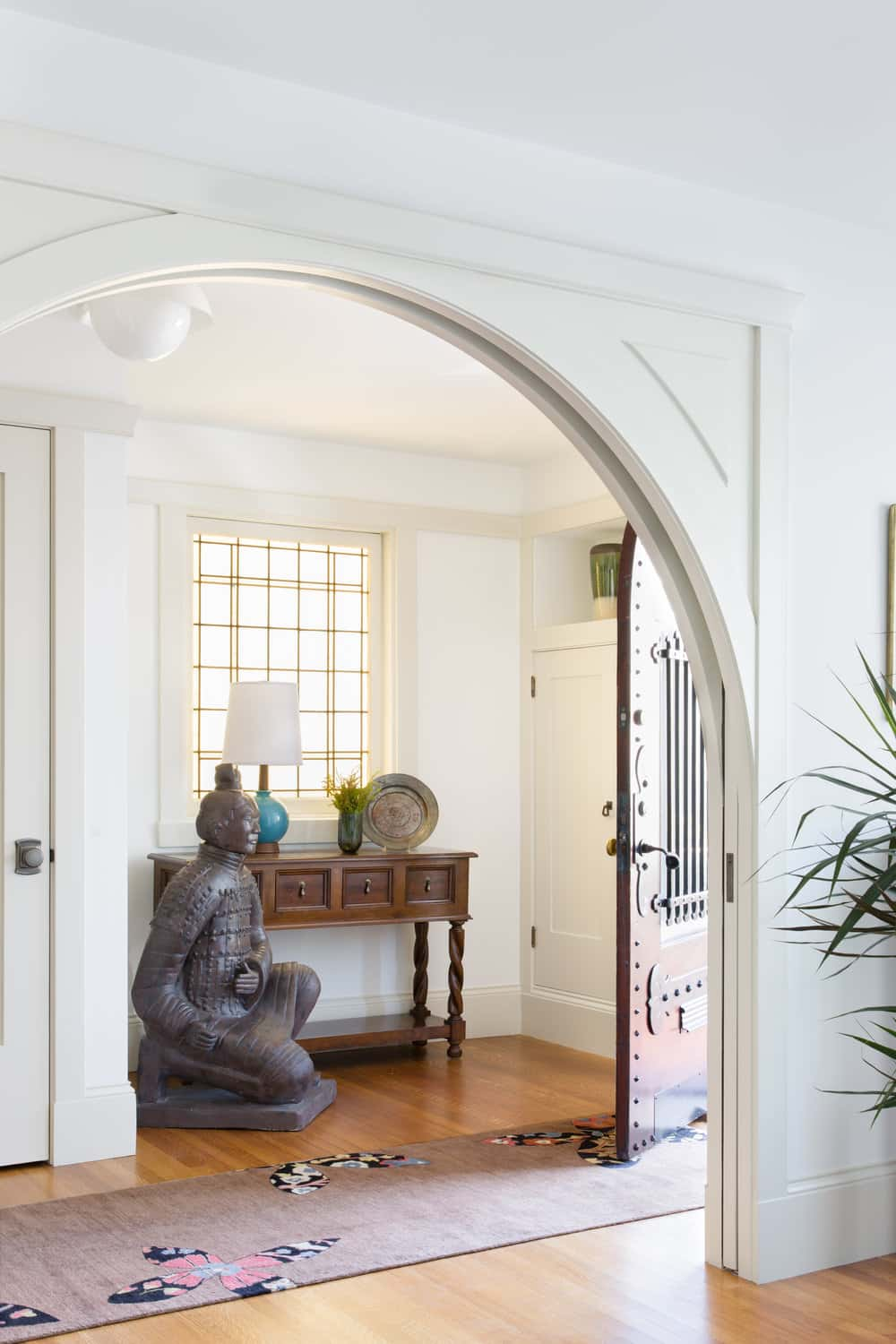Entryway with bronze sculpture