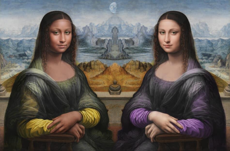 Le sorelle Gioconde dell'orbitale 29, 2020, by Daïm Aggott-Hönsch, is a speculative digital remix of the Prado Mona Lisa, c. 1503–16, by Leonardo Da Vinci's workshop.
