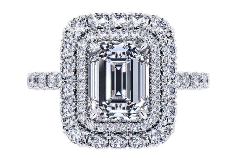GIA 2.01 CT E VS1 Emerald Round Halo Diamond Tresor Engagement Ring Platinum