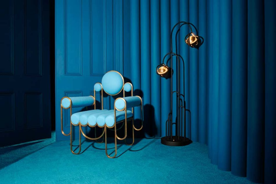 Bohinc Studio Apollo armchair and Planetaria floor light