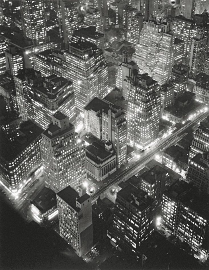Aerial view of New York by Night, by Berenice Abbott