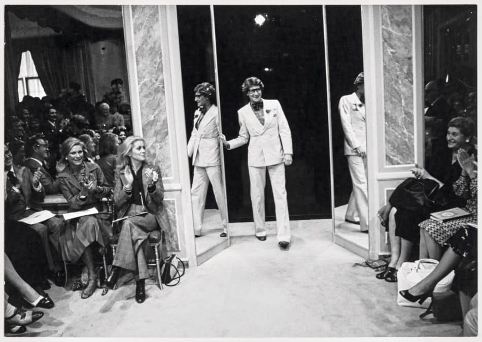 Yves Saint Laurent greeting audiences in 1974