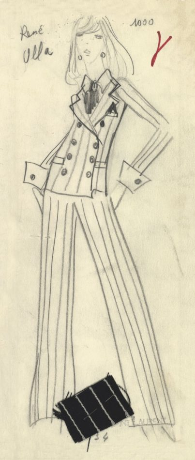 YSL trouser suit sketch