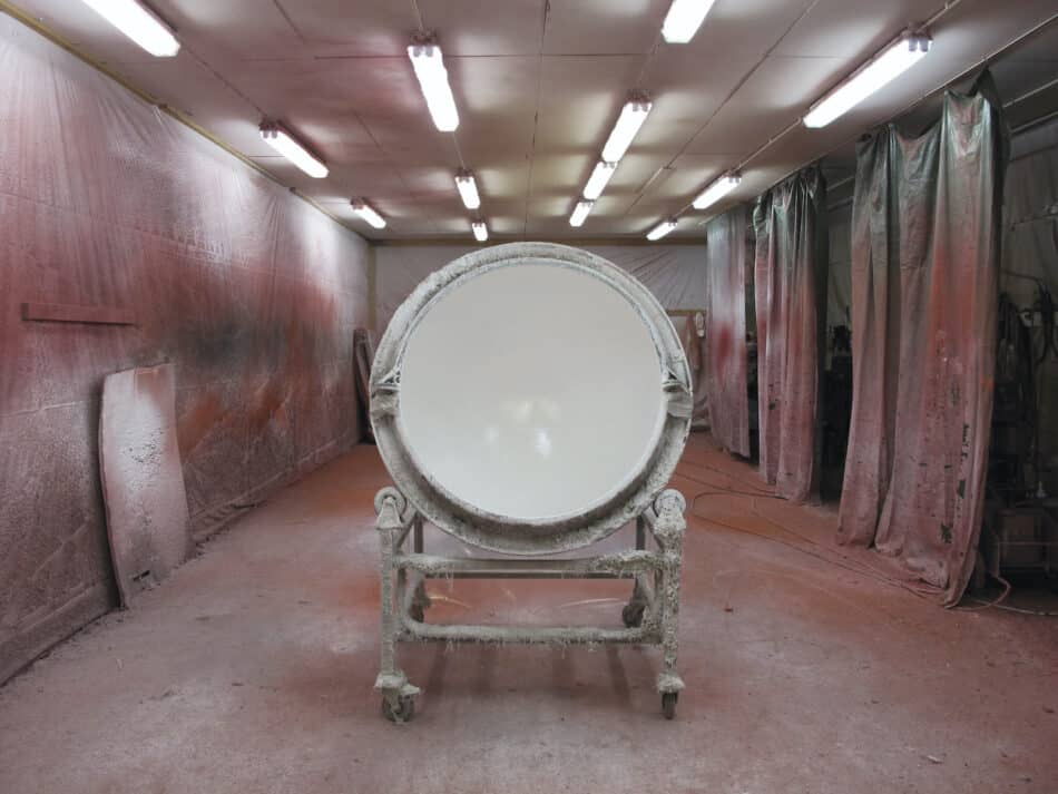 Production of the Ball chair's fiberglass shell at the Artekno Factory in Helsinki