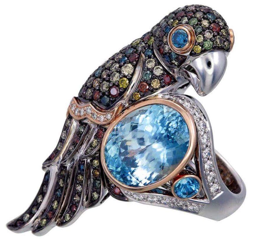 Zorab Creation 13.13-carat blue zircon Bird of Paradise ring, 2020