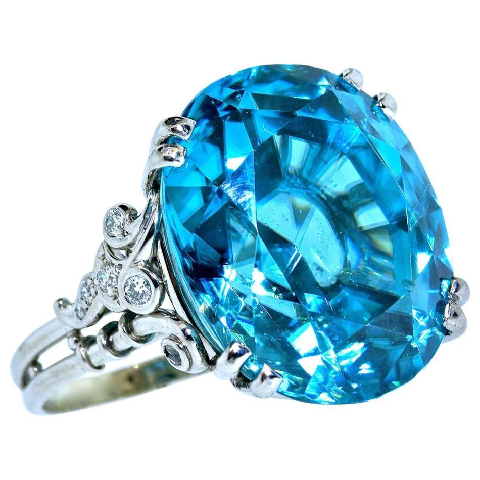 32-carat blue zircon and diamond platinum ring, 1940