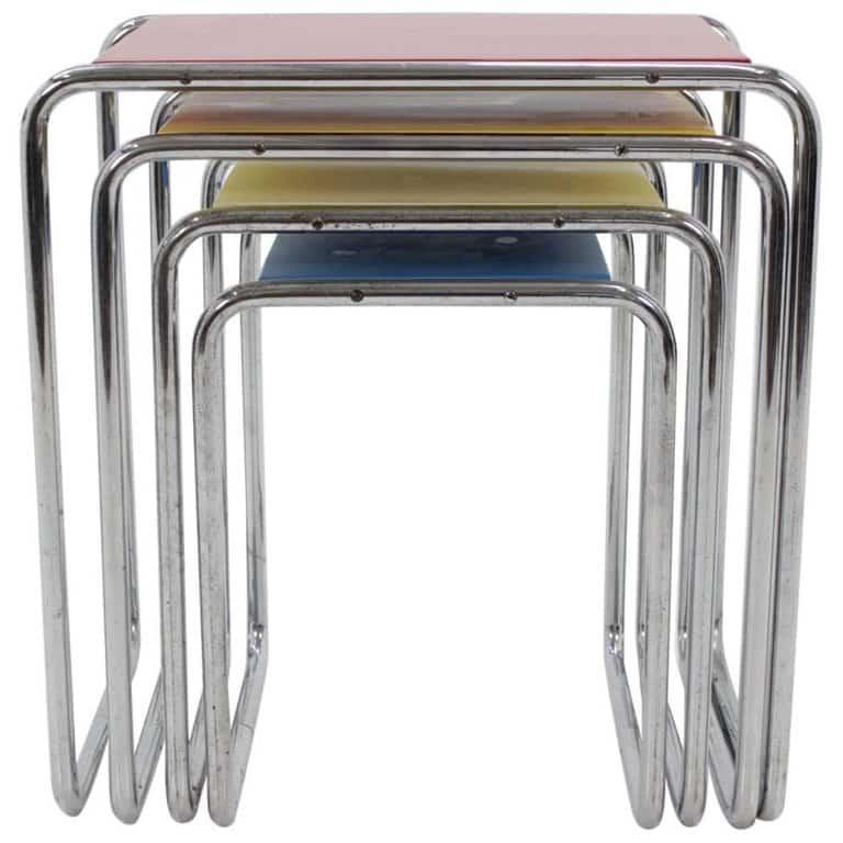 Marcel Breuer B9 Chrome nesting tables,