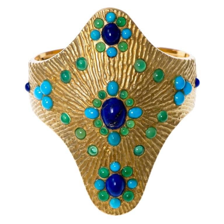 Boucheron Lapis Lazuli Turquoise  Cuff Bracelet