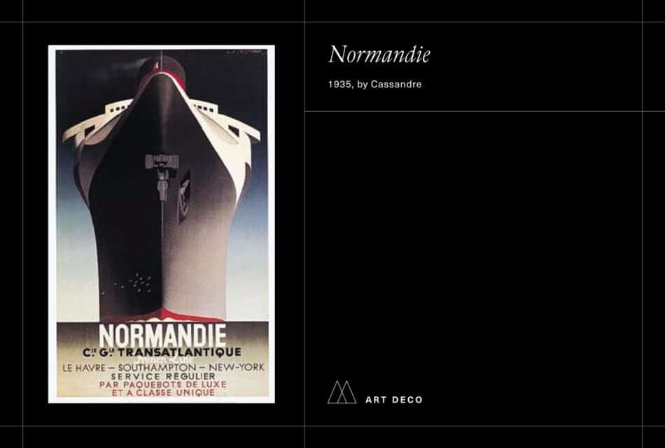 Cassandre's Normandie poster on a black background
