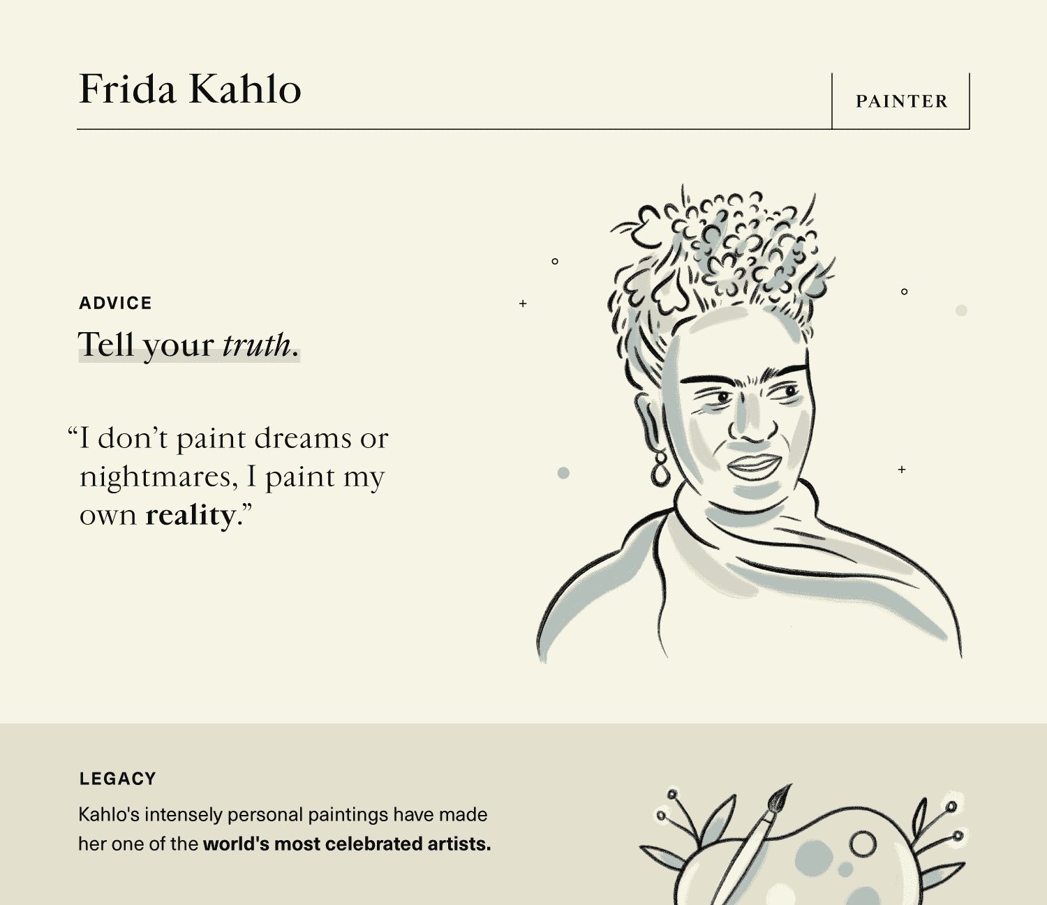 empowering advice on self-expression from painter, Frida Kahlo.