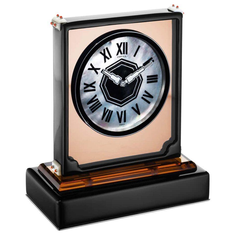 "Cartier Paris ""Ligne S"" Art Moderne Mirror and Enamel Clock, ca. 1930"