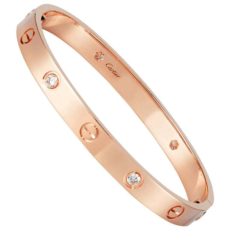 Cartier rose-gold Love bracelet with four round brilliant cut diamonds, 2018