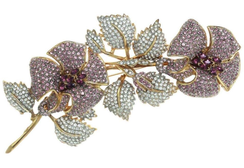 Ciner crystal and violet statement floral branch spray pin, new