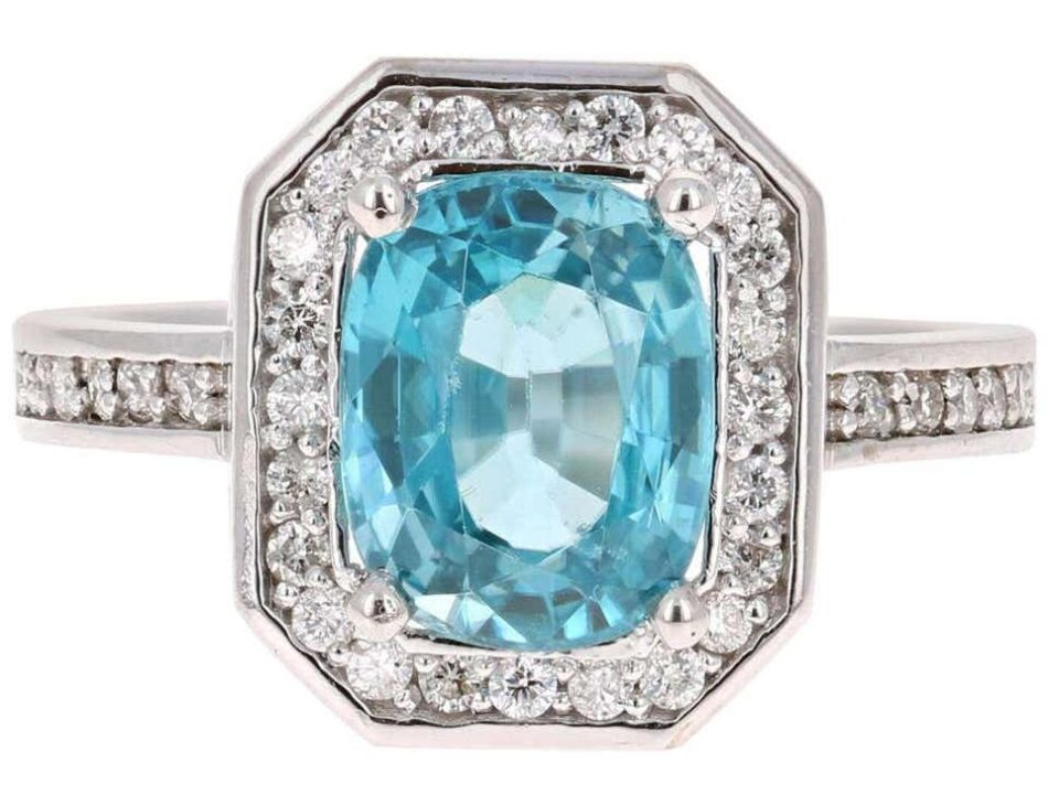 3.79-Carat Blue Zircon Diamond 14 Karat White Gold Ring, 21st century