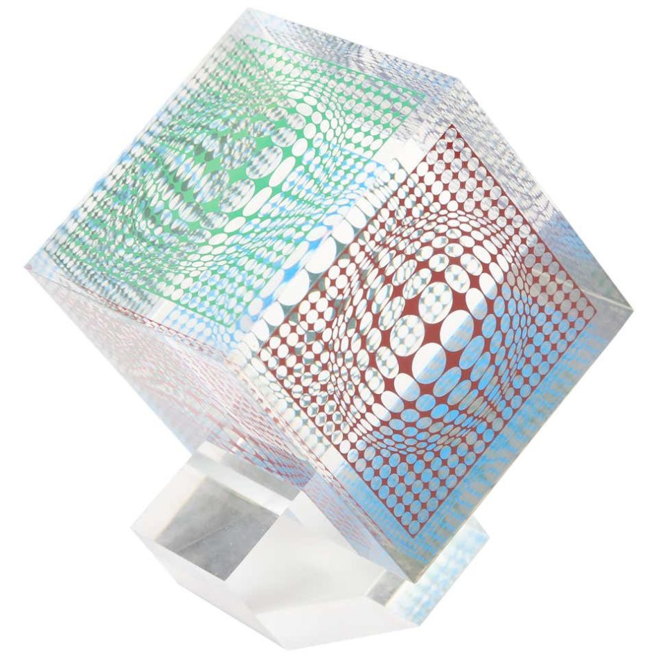 Silkscreened acrylic cube, 1970s, by Victor Vasarely