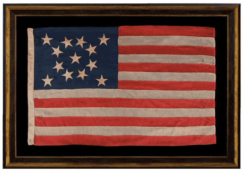 13 Stars in a Medallion Configuration on a Small-Scale Flag, late 19th century