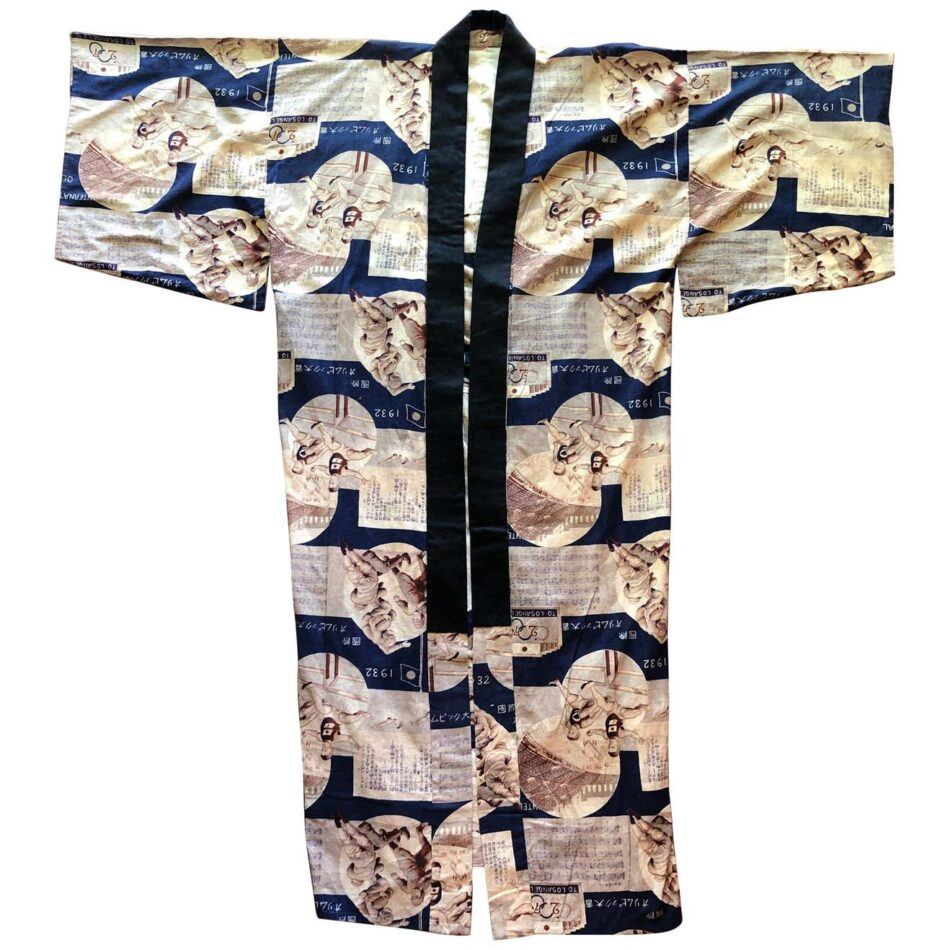 Japanese kimono with Los Angeles Olympic and sports motifs and black trim