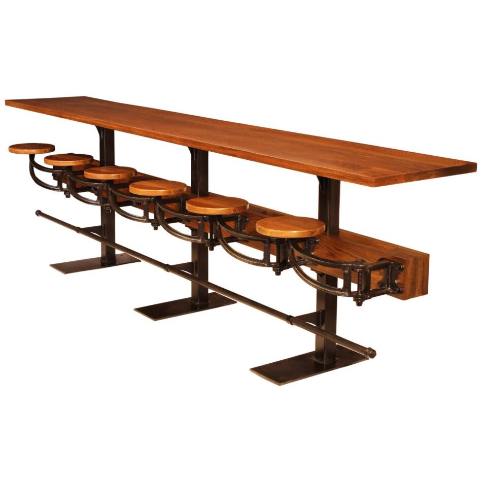 Pub table with attached swing out seats