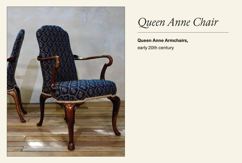Blue Queen Anne chair