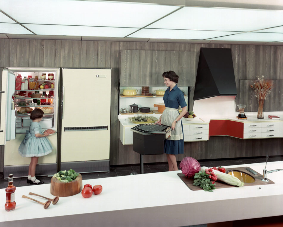 A portable grill in a demonstration kitchen at the 1961 GM Motorama Exhibit.