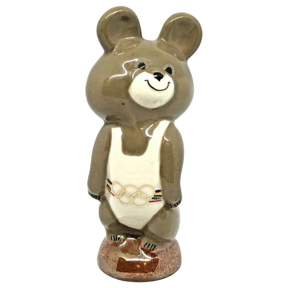 Porcelain Misha Mishka mascot bear with gold Olympic rings belt