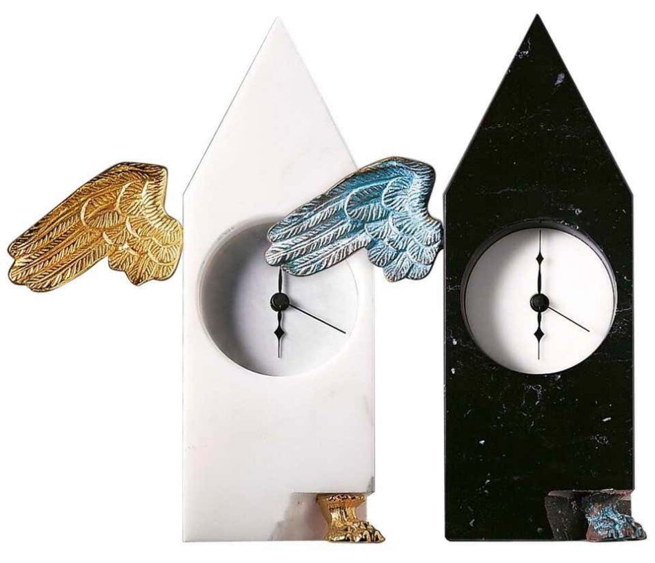 21st Century by D.Palterer Marble and Metal Clock in Nero Marquina White Carrara