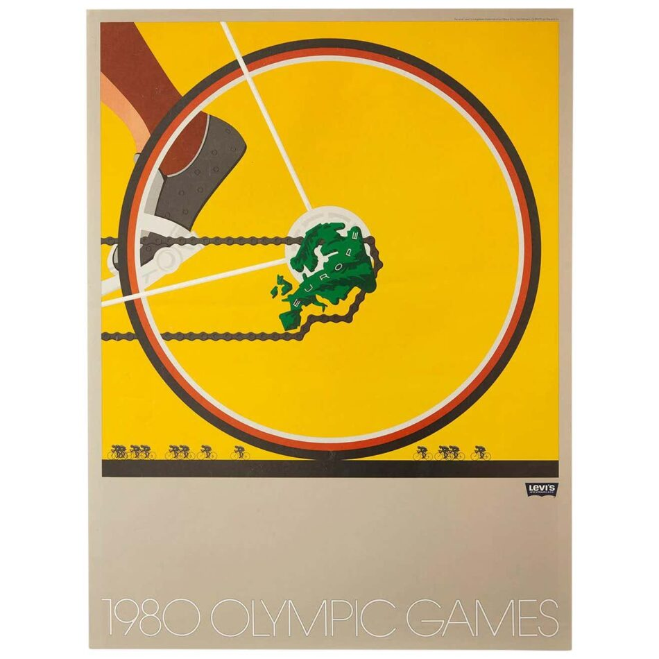 One poster from set of 6 original 1980 Moscow Olympic Games Levi's poster collection. Poster displays the back wheel of a bicycle with a map of Europe in the center of the wheel