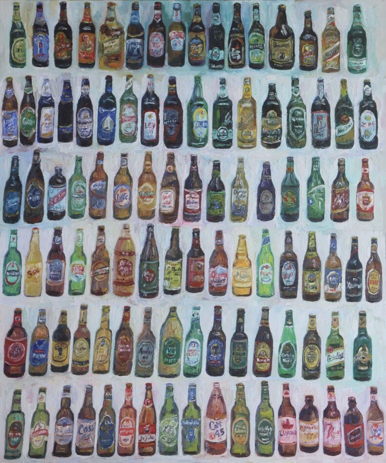 """John Kilduff painting titled """"99 bottles of beer on the wall"""""""