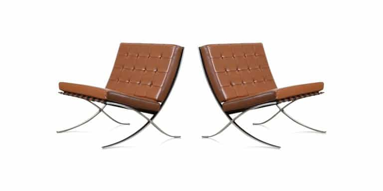Pair of Mies van der Rohe Barcelona chairs for Knoll