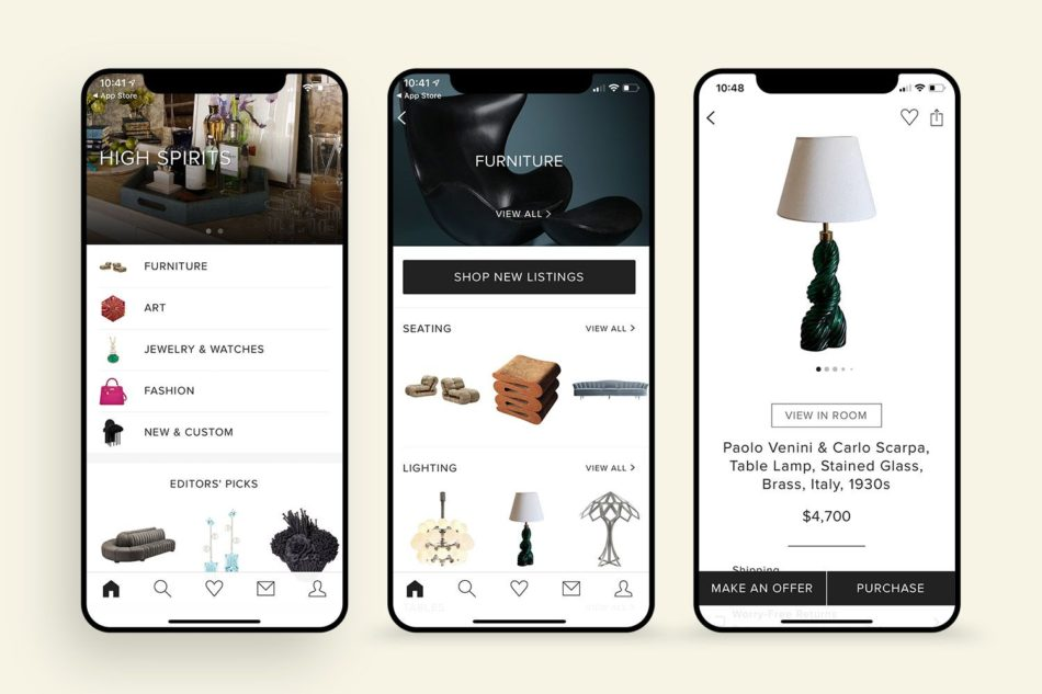 Three phones showing furniture categories, light fixtures and a desk lamp