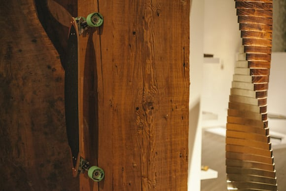In the Studio Roeper showroom, a skateboard keeps company with the walnut and gold-leaf sculpture Last Frontier, 2015