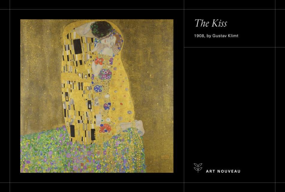 Klimt's The Kiss on a black background
