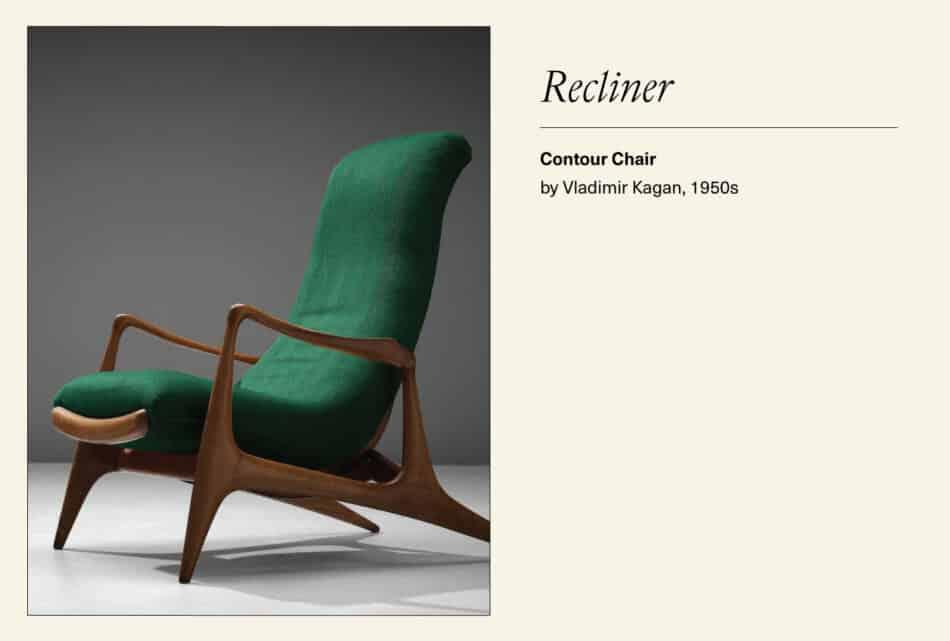 Green reclining contour lounge chair