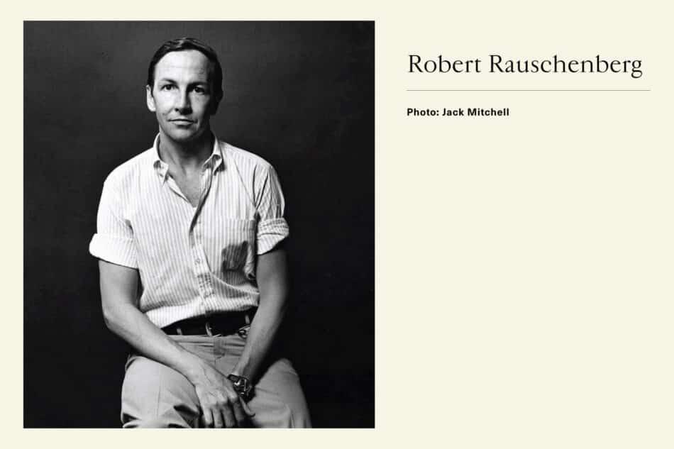 Black and white photograph of Pop Artist Robert Rauschenberg