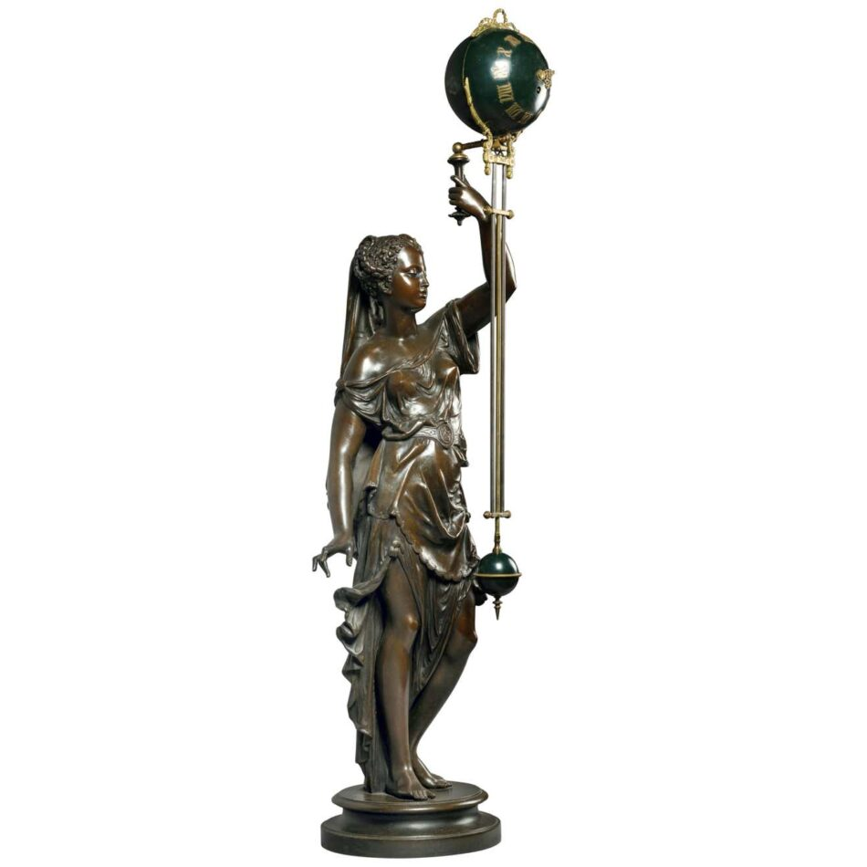 Large Patinated Eight-Day Swinging Mystery Clock, ca. 1890