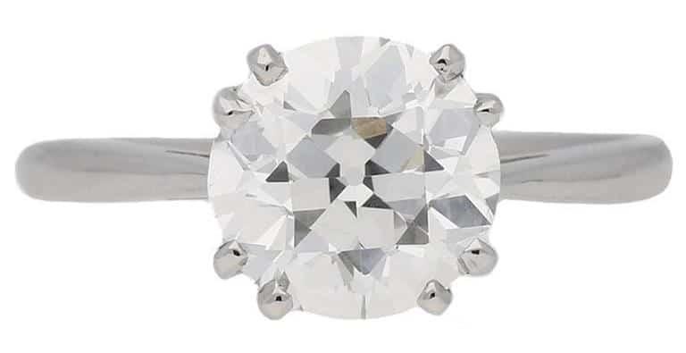 2.03-carat old-cut diamond and platinum engagement ring, 1950s