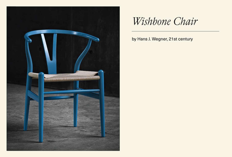 Blue Wishbone chair
