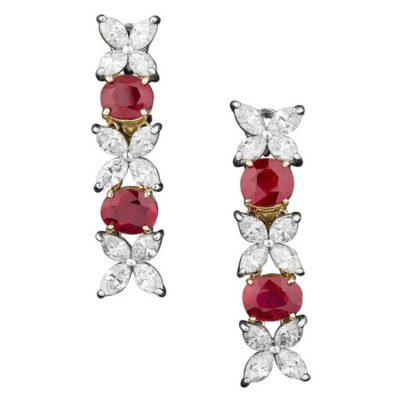 Diamond and Burma ruby earrings. Offered by MS Rau Antiques.