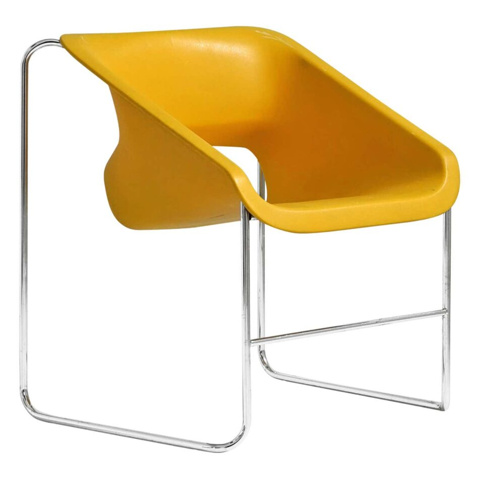 Yellow Artopex Lotus chair with silver metal accents by Paul Boulva