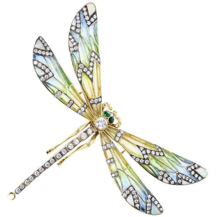 Plique-à-jour dragonfly pin, 1890–1910