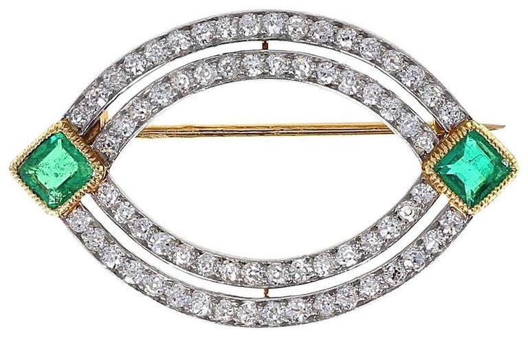 Cartier emerald and diamond brooch, late 19th century