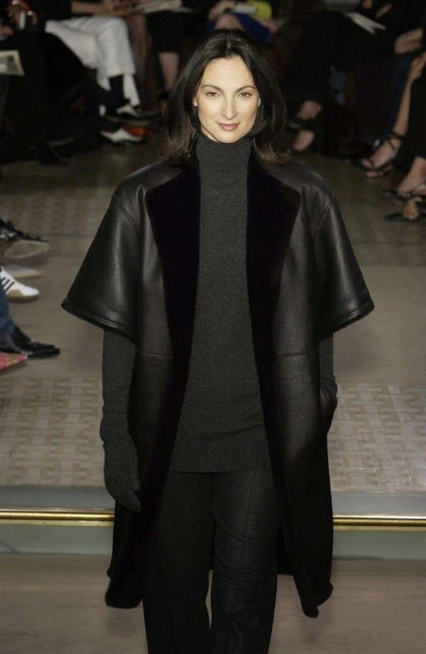 Black shearling leather cropped jacket from the Hermès by Martin Margiela F/W 2002 collection.