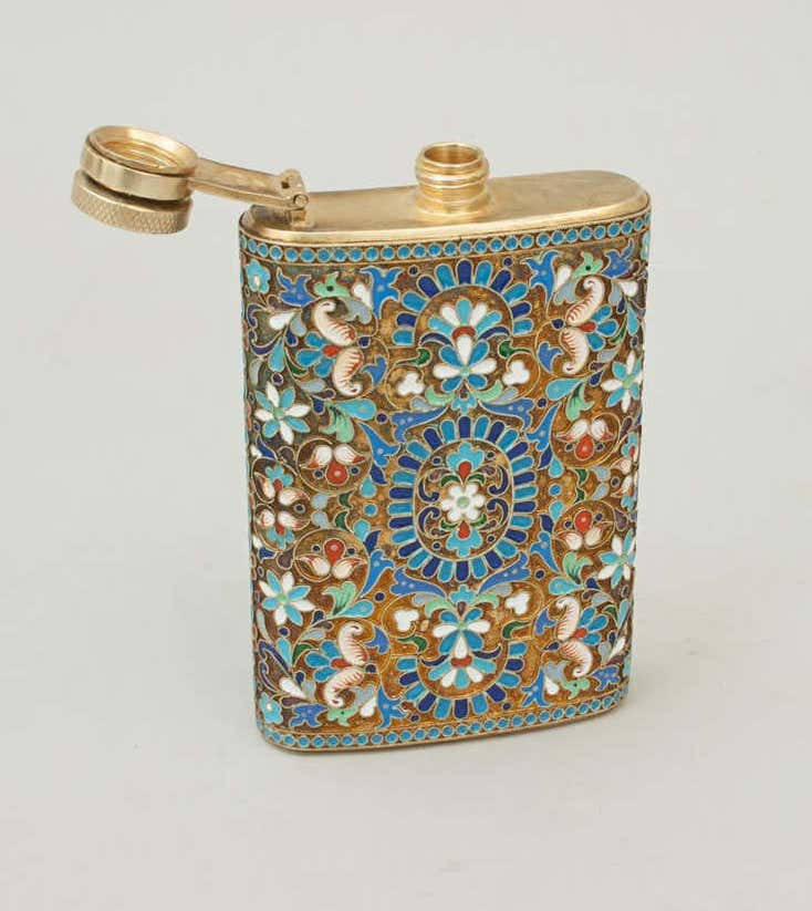 Russian hip flask with cloisonné enamel on silver, 1930s