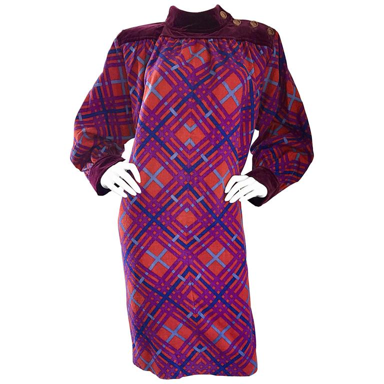Yves Saint Laurent Vintage Russian Collection 1976 Geometric Dress