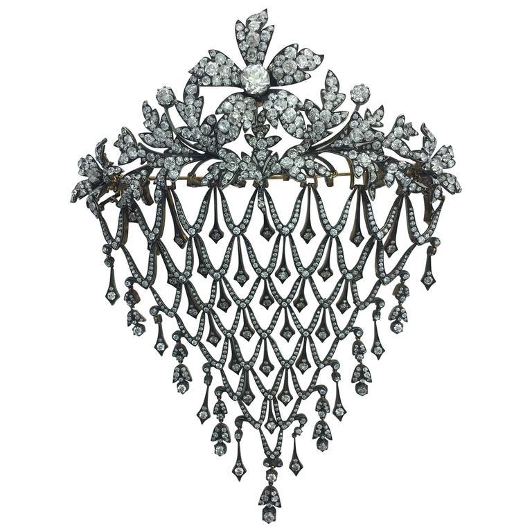 Diamond Flower En Tremblant Stomacher Hair Ornament Brooch