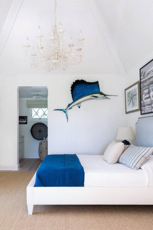blue and white bedroom by Huniford Design Studio