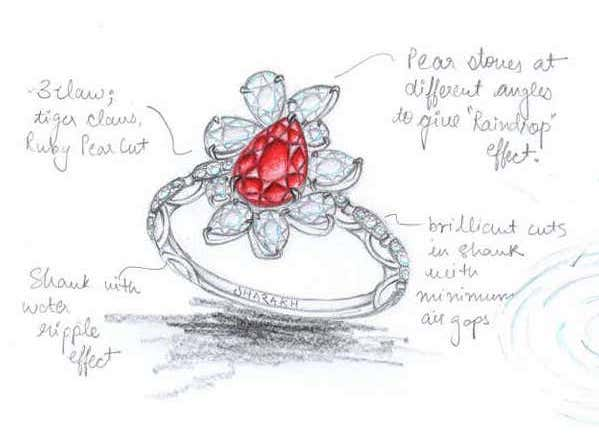 ring sketch with pigeon's blood ruby loose stone