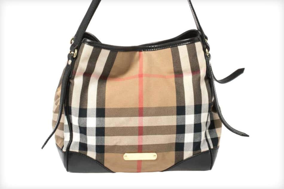 Burberry Beige/Black Classic Check Fabric and Leather Canterbury Tote