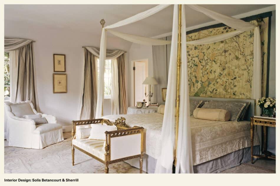 bedroom designed with antique furniture